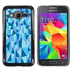 LECELL--Funda protectora / Cubierta / Piel For Samsung Galaxy Core Prime SM-G360 -- Geometrical Structure Pyramid Triangle Blue --