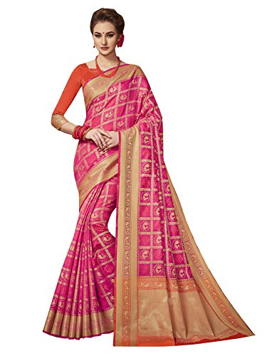 Traditional Sarees Women Patola Art Silk Woven Work Saree,Sari (Pink) ()