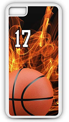 iPhone 7 Plus 7+ Case Basketball BK004Z Choice of Any Personalized Name or Number Tough Phone Case by TYD Designs in White Plastic and Black Rubber with Team Jersey Number 17 (Jasper Fabric Necklace)