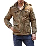 CRYSULLY Men's Autumn Windbreaker Coat Outdoor Hooded Cargo Cotton Utility Full Zip Jacket Khaki