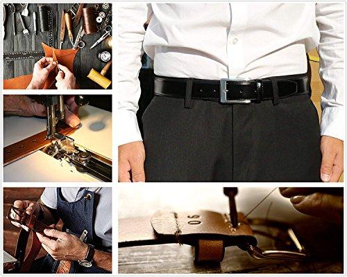 Men's Genuine Leather Dress Belt with Premium Quality - Classic & Fashion Design (Black, 34) by KM Legend (Image #3)