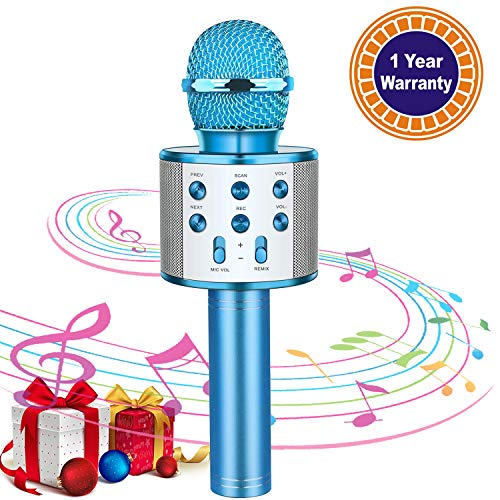 Karaoke Microphone for Kids Wireless Bluetooth Mic Handheld Children Toy Microphone Speaker Music Singing Machine Suitable for Home Party Kid Birthday KTV Christmas Festival Gift (Blue)