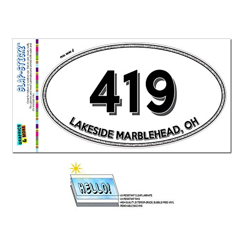 Price comparison product image Graphics and More Area Code Euro Oval Window Laminated Sticker 419 Ohio OH Dunkirk - Leipsic - Lakeside Marblehead