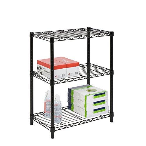 Honey-Can-Do SHF-01905 Adjustable Storage Shelving, 250-Pounds Per Shelf Black, 3-Tier, 24Lx14Wx30H