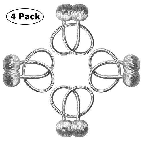 Curtain Tiebacks Magnetic, Drape Tie Backs, Curtain Holdbacks, Decorative Weave Rope Tieback Holdback Holder, Curtains Buckle Drapes Clips for Home Office Window Decoration (Grey, 4)]()
