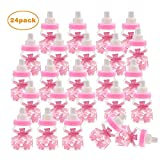 24pcs Candy bottle Fillable Gift Box with Bear, Baby Shower Baptism Party Favours Decoration(Pink)