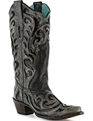 CORRAL Womens Inlay and Laser Fashion Western Snip Toe Boots