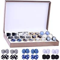 BodyJ4You 18 Pairs Business Classic Cufflinks for Men Unique Silk Knot Cuff Links Gift Set