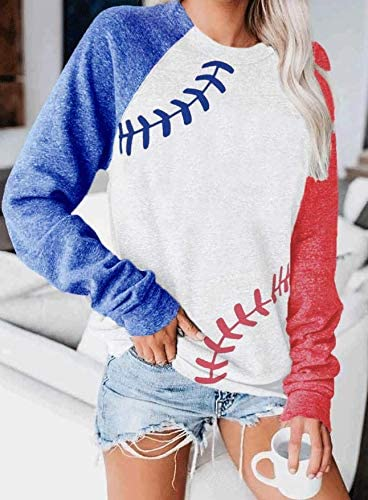 Baseball Lace One The Side Colorblock Sweatshirt Women Pullvoer Long Sleeve Blouse Mothers Day