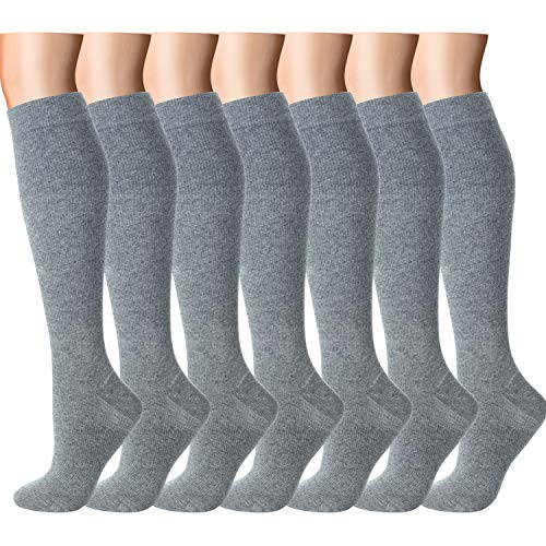 Compression Socks Women Men 15-20 mmHg, 6/7/12-Pairs Mens Womens Athletic Sock for Dress,Running,Medical,Varicose Veins,Travel (Grey-7 Pairs, S/M (US Women 5.5-8.5/US Men 5-9))