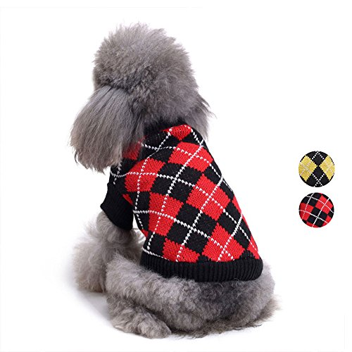 Chic Argyle All Over Dog Sweater, Red Black Argyle Dog Clothes Knit Sweater Apparel for for Teddy, Pug, Chihuahua, Shih Tzu, Yorkshire Terriers, Papillon by HongYH