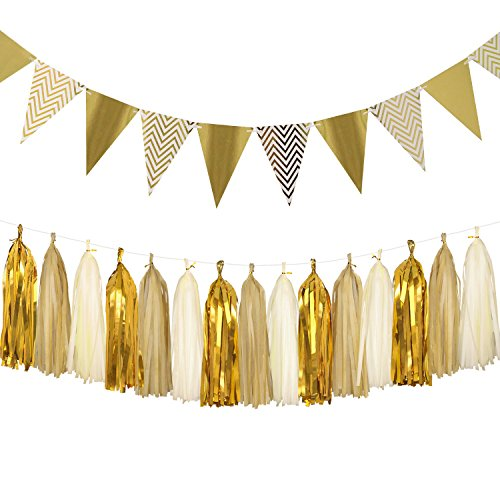 Sparkly Paper Pennant Bunting Banner Triangle Flags 8.2 Feet and Tissue Paper Tassel Garland 15 pcs for Vintage Home Wall Decoration, Metallic (Diy Balloon Centerpieces)