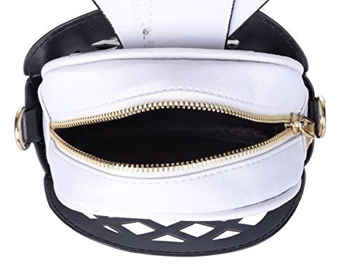 body Out Cross Casual Purse QZUnique Pineapple PU Black Handbag Women's Shape Hollow 8AZTXq