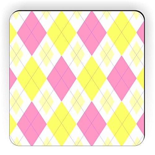 Rikki Knight Pink Yellow Argyle Mini Yellows Design Square Fridge Magnet