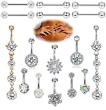 FIBO STEEL 16Pcs 14G Stainless Steel CZ Dangle Belly Button Rings for Women Navel Barbell Nipple Rings Tongue Ring Piercing Body Jewelry