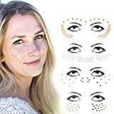 Xiangfeng 4 pcs Face Jewel Stickers tattoo Metallic Shiny Temporary Water Transfer Tattoo