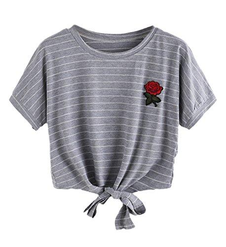 di Grigio Moda Ricamo Tumblr Top Rose T Manica Chic Magliette Casuali Shirt Cinghia Corta Estivi Cute Donna Elegante Crop Girocollo WgnxzqHa