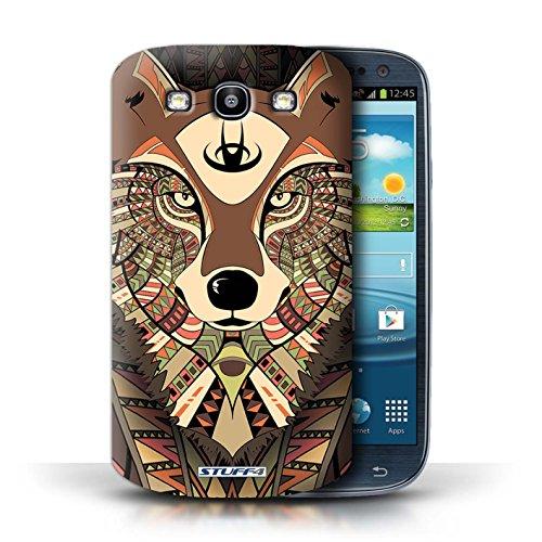 Etui / Coque pour Samsung Galaxy S3/SIII / Loup-Sépia conception / Collection de Motif Animaux Aztec