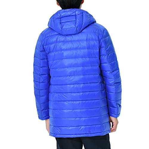 Feicuan Men Duck Down Jacket Hooded Outwear Medium Long Winter Windproof Coat Royal