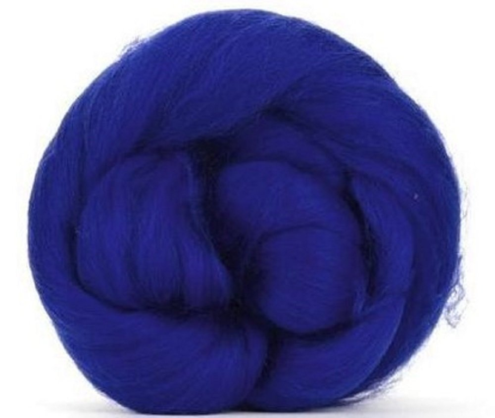 4 oz Paradise Fibers 64 Count Dyed Sapphire (Blue) Merino Top Spinning Fiber Luxuriously Soft Wool Top Roving for Spinning with Spindle Or Wheel, Felting, Blending and Weaving