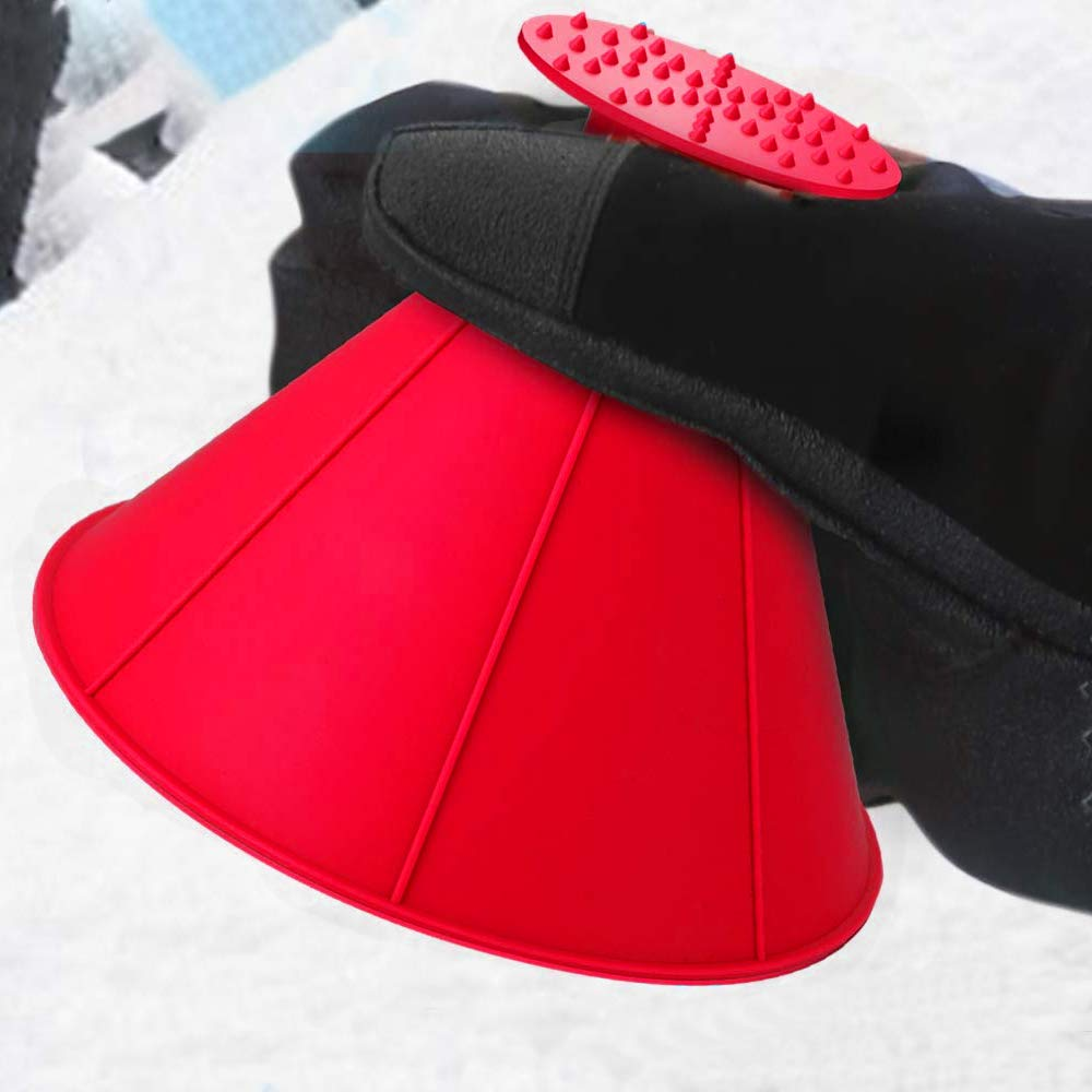 QUEES 2 Pack Ice Scraper Round Car Window Windshield Cone -Shaped 5.7″ Larger Coverage Diameter Snow Funnel Removal Tool with 4 Ice Breakers Red