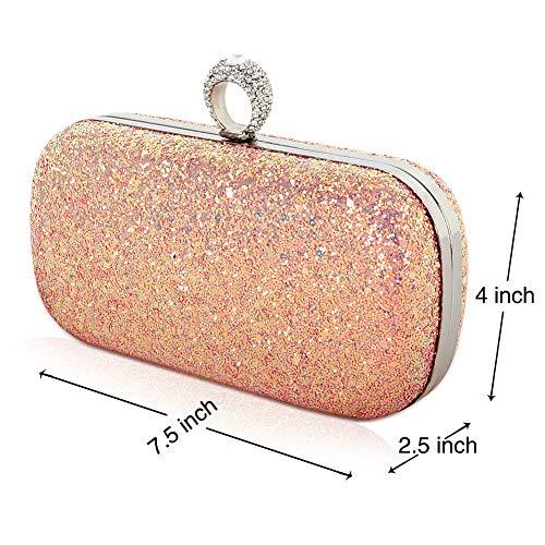 color Elegant for Purse Pink Multi Evening Sparkling Handbags Party women Beautier qpw1SfHxf