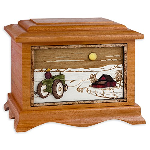 Wooden Cremation Urn - Ambassador Shape with Farm Tractor & Barn 3-Dimensional Inlay Wood Art Memorial - Funeral Urns for Adults (Mahogany)