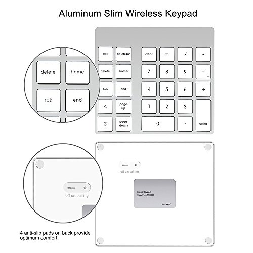Cateck 28-Key Rechargeable Aluminum Bluetooth Wireless Keypad Number Pad Keyboard for iMac, MacBook Air, MacBook Pro, MacBook, and Mac Mini by Cateck (Image #1)