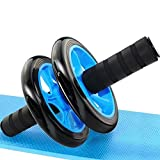 SKYFUN (LABEL) Unisex Double Wheel Ab Abdominal Roller Fitness Exerciser Home Gym Anti Skid with Knee Mat-Steel Rod Grips , Multicolour