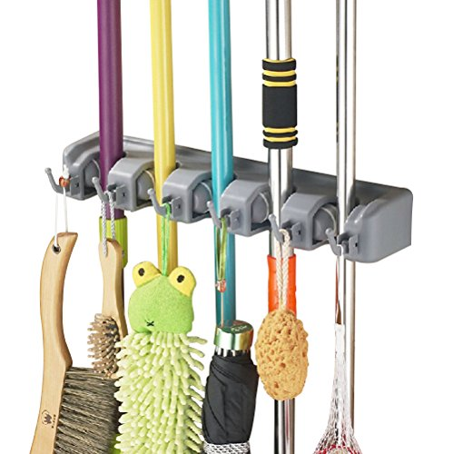 Bekith Mop and Broom Holder, 5 Position with 6 Hooks Garage Storage Holds up to 11 Tools, Wall Mounted Garden