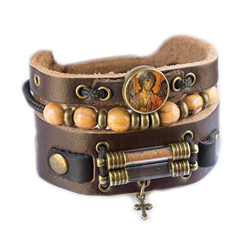 Saint Michael Bracelet with Olive Wood Beads, Jordan River Holy Water and Jerusalem Earth (Men size: 7.5 - 8.5 Inches) by Rani Shoket