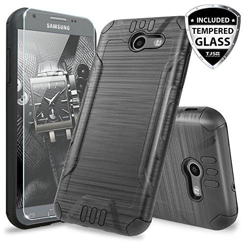 TJS Galaxy J3 Emerge/J3 Prime/Amp Prime 2/Express Prime 2/Sol 2/J3 Mission/J3 Luna Pro/J3 Eclipse Case, with [Tempered Glass Screen Protector] Hard Inner Layer Metallic Brush Finish Case (Black)
