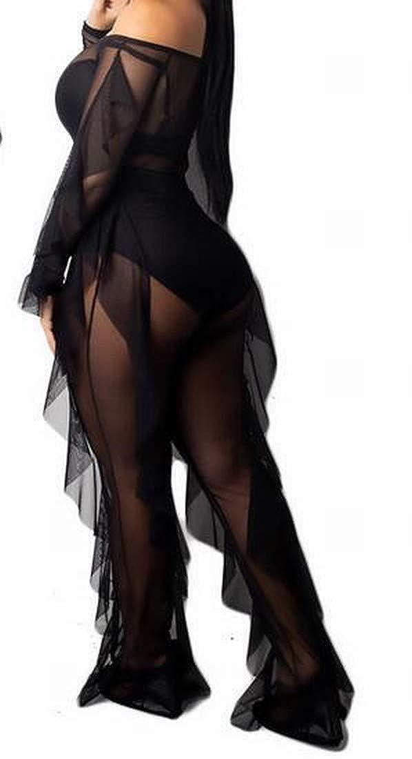 Bravepe Womens Off Shoulder See-Through Long Sleeve Mesh 2 Pcs Ruffle Club Party Jumpsuit Romper