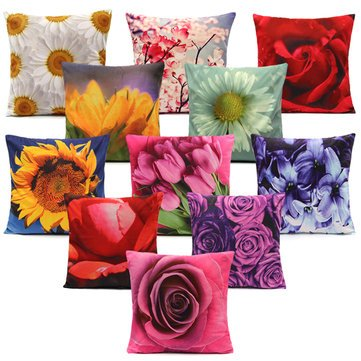Pillow Cases - Colorful Flower Series Short Plush Throw Pillow Home Sofa Car Cushion Cover - Bloom Case Blossom Slip Efflorescence - ()