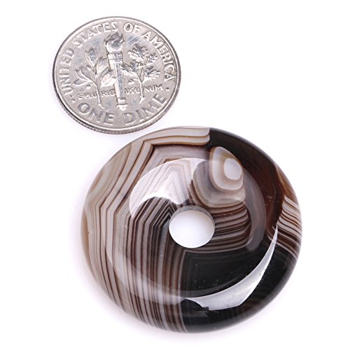 Semi Precious Donut - 30mm Natural Semi Precious Donuts Rings Coffe Brown Onyx Sardonyx Agate Gemstone Beads for Jewelry Making Strand 15