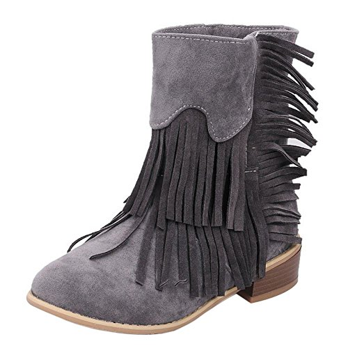 Comfort COOLCEPT Heel Mid Square Boots Tassels Pull Women Ankle Gray With On FHrwFqA5