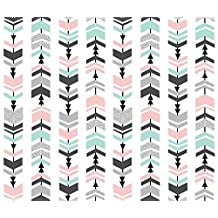 Chevron Fabric - Chevron Pink Mint Grey Charcoal Kids Nursery Baby by charlottewinter - Chevron Fabric with Spoonflower - Printed on Basic Cotton Ultra Fabric by the Yard