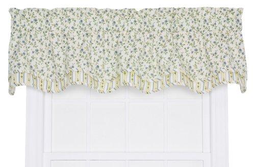 Ellis Curtain Marcia Floral Vine Print Bradford Window Treatment Valance, 70 by 15-Inch, Blue
