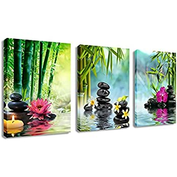Canvas Painting Wall Art Decor SPA Stone Green Bamboo Pink Waterlily And  Frangipani Pictures   3 Panels Modern Zen Canvas Painting Prints Giclee Art  For ...
