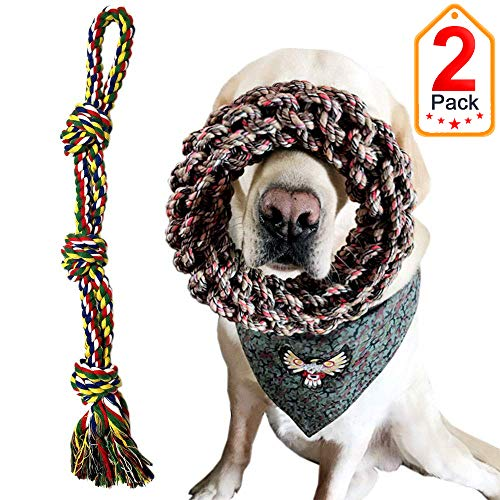 Extra Large Breed Dog Toys, Dog Rope Toys for Large Dogs Aggressive Chewers Tug of War, Durable Thick Cotton Dog Chew Toy Set Interactive Dog Toys 2 Pack