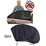 "KEMANI Lot 2pcs Car Side Rear Window Sunshade Curtain Sun Visor Shade Sox Mesh Cover Shield Baby Kid UV Protection XL Universal 125 x 52cm (49.6"" x 20.5""in)"