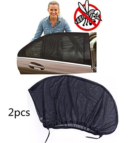 KEMANI Lot 2pcs Car Side Rear Window Sunshade Curtain Sun Visor Shade Sox Mesh Cover Shield Baby Kid UV Protection XL Universal 125 x 52cm (49.6' x 20.5'in)