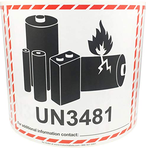 UN3481 Caution Lithium Battery Labels 4.5 x 5 Inch 500 Adhesive Stickers