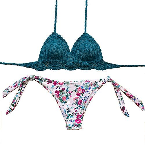 Rubylong Women's Handmade Crochet Bikinis Brazilian Push Up Printing Padded Swimsuit,Bj3068,M(US Size 4-6)