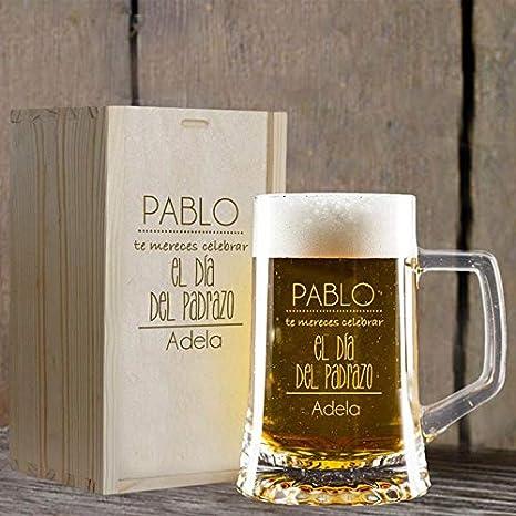 Regalo personalizado para el Día del Padre: jarra de cerveza grabada con vuestros nombres en estuche de madera también grabado