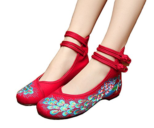 Avacostume Paon Broderie Spangly Perles Perles Plate-forme De Bal Robe Chaussures Rouge