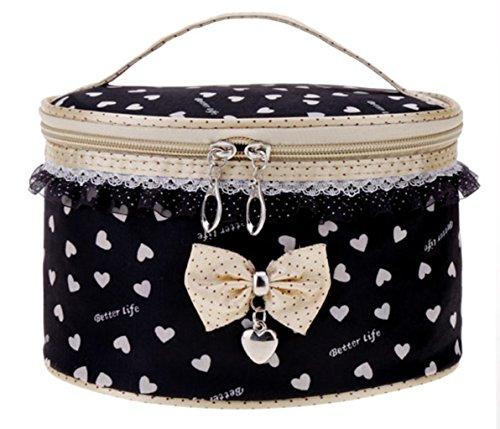 Trousse - lavaggio multifunzionale da toeletta borsa bauletto All4you moda femminile con dolce pizzo Bowknot(Black2)