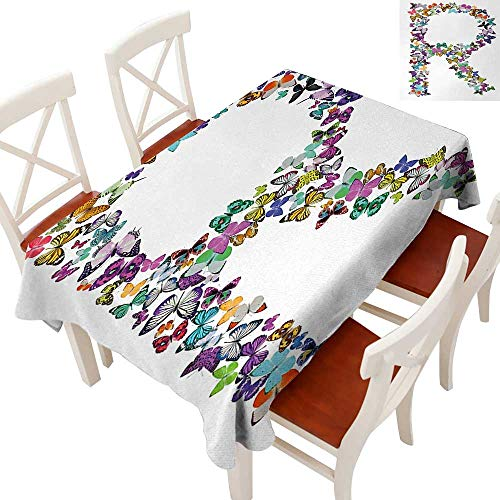 WinfreyDecor Fabric Dust-Proof Table Cover Waterproof/Oil-Proof/Spill-Proof Tabletop Protector A Collection of Butterflies in The Shape of Uppercase Letter Nature Inspired Font Multicolor 60