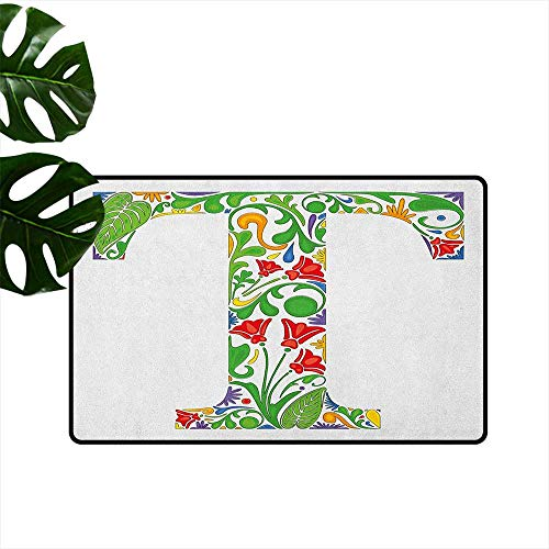 (Letter T,Door mats Red Blossoms and Green Leaves Vibrant Colors Letter T Capital Initial with Swirls 36