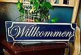 18x6 Willkommen (Choose Color) Rustic German Biergarten Wood Sign